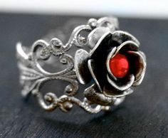 Steam Punk Ring  Silver Rose Ring with Red by robinhoodcouture, $28.00