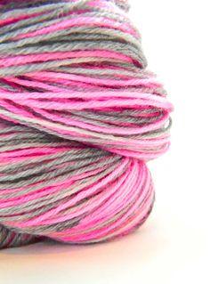 Hand dyed yarn Neon Pink Silver Sock yarn Need it!