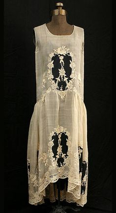 "French hand-embroidered cotton voile dress, c.1923. Label: ""Vidalou"". From the Vintage Textile archives."
