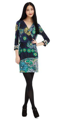 Who doesn't love a wrap dress? This faux wrap has a fun floral print! #AliRoStyle