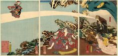 Kuniyoshi (Triptych) - Toad Magic