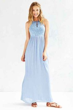 Kimchi Blue Embroidered Bodice Halter Maxi Dress - Urban Outfitters