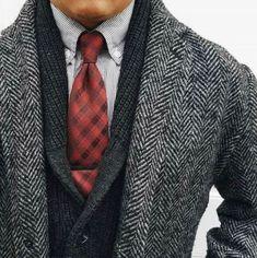 - with a black herringbone topcoat black/gray shawl cardigan gray striped button collar shirt red black plaid silk tie black tie clip Mens Fashion Blazer, Fashion D, Best Mens Fashion, Fashion News, Fashion Trends, Sharp Dressed Man, Well Dressed Men, Mode Man, Red And Black Plaid