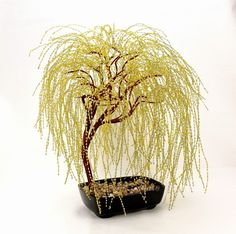 Golden Weeping Willow Beaded Bonsai Tree di BeadedPointOfView