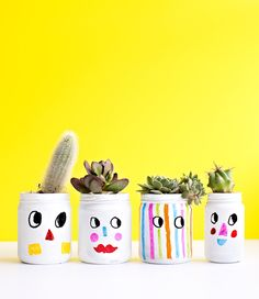DIY KID-MADE FUNNY FACES PAINTED PLANT JARS