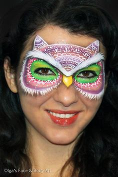 Owl Face Painting #facepaint #facepainting Olga Meleca, unusual like the pattern idea!