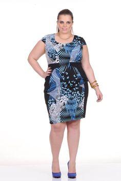 Moda feminina plus size   86830 Vestido estampado com detalhe em malha