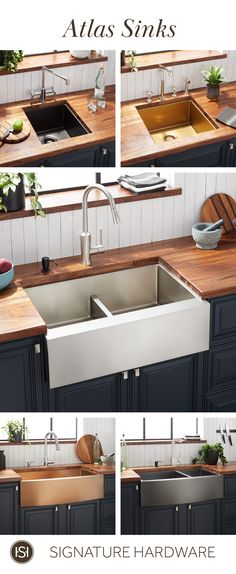 Cozy Home Interior Whether if you& looking for a prep sink, undermount sink, or farmhouse sink, the Atlas is the perfect way to give your kitchen some personality. This refined product is not only stylish, but is made to last by its impressive durability. Kitchen Redo, Home Decor Kitchen, Interior Design Kitchen, New Kitchen, Home Kitchens, Kitchen Remodel, Kitchen Sinks, Kitchen Countertops, Country Kitchen