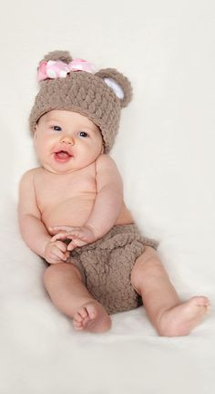 Baby Girl Hat and Diaper Cover | Crochet Photo Prop