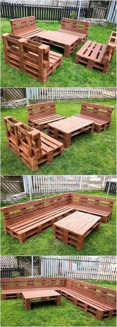 This idea of creating upcycled wood pallets garden furniture requires a little b. - This idea of creating upcycled wood pallets garden furniture requires a little bit of time and effo - Garden Furniture Design, Pallet Furniture Designs, Pallet Garden Furniture, Diy Outdoor Furniture, Pallet Chair, Furniture Ideas, Cheap Furniture, Garden Design, Pallet Benches