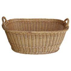 French Oval Wicker Market Harvest Basket $375.00