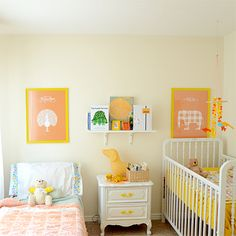 cute baby/toddler room.  love the vintage looking crib.  I have the exact nightstand from when I was little.  Would love to redo it in white for a little girl's room someday.