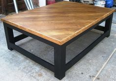 Over-sized coffee table and end tables made from re-purposed old oak f… :: Hometalk