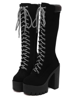 SheIn offers Black Chunky Heel Hidden Platform Boots & more to fit your fashionable needs. Teen Fashion Outfits, Edgy Outfits, Mode Outfits, Fashion Boots, Latex Fashion, Grunge Outfits, Emo Fashion, Gothic Fashion, Platform Boots