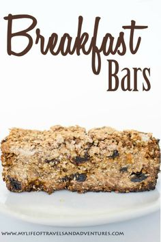 Breakfast Bars: These simple to make, healthy breakfast bars include flax, raisins and maple syrup.
