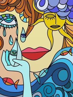 Of tears and fishes Hippie Painting, Trippy Painting, Painting & Drawing, Cubist Art, Abstract Art, Wal Art, Psychadelic Art, Hippie Art, Dope Art