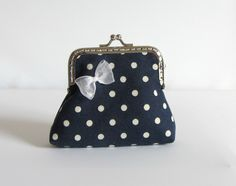 Navy blue and white coin purse, handmade purse, womens coin pouch, cotton coin pouch, kiss lock purse by JRsbags on Etsy