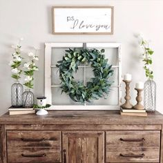 Loving this sideboard decor! The wreath and window are so unique! Sideboard Dekor, Credenza Decor, Dining Room Sideboard, Console Table, Sideboard Ideas, Rustic Sideboard, Side Board, Farmhouse Buffet, Farmhouse Decor