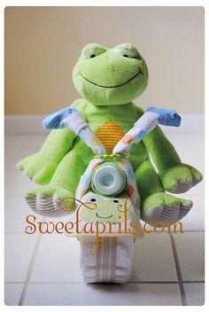Sweetaprils: Motorcycle Diaper Cake Tutorial {DIY-How to Make a Diaper Motorcycle}