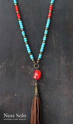 Long Boho necklace Gypsy necklace hippie neklace blue by NessSolo