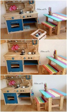 Eye Catching Wood Shipping Pallet Ideas - Think about arranging a pallet kids kitchen and furniture in your house settings that would make yo - Pallet Ideas, Pallet Designs, Diy Pallet Projects, Outdoor Projects, Garden Projects, Play Kitchens, Diy Pallet Furniture, Furniture Plans, Furniture Stores