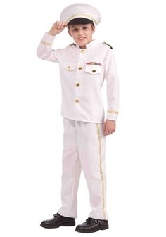 Child Ship Captain Uniform Sailor Sea Marine Nautical Fancy Dress