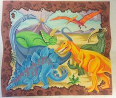 """Dinosaurs Needlepoint Hand Painted Canvas Discontinued #3412 Design 18"""" x 16"""""""