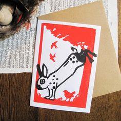 bunny high kick linocut greeting card