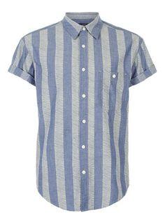 BLUE DASH STRIPE SHORT SLEEVE SHIRT - Men's Shirts  - Clothing