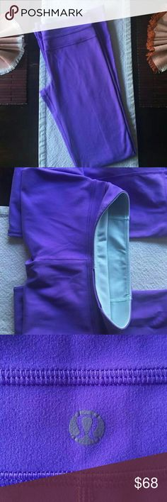 LULULEMON Purple/Blue REVERSABLE Yoga Pants Stunning Purple and blue reversable yoga pants. Fit like pants on the bottom ( not like leggings that are tight around the ankle )! Only selling because they are about 2 inches too short on me ( I am 5 foot 9 inches for reference). So comfortable and cute! Offers welcome! Lululemon  Pants Leggings