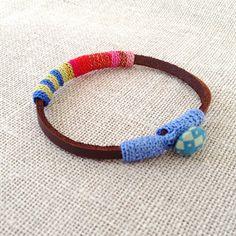 leather and crochet bracelet by kjoo on Etsy, $45.00