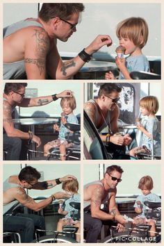 Devoted, loving dad with his adorable son-- ❤ This !