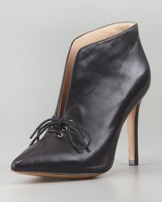 Camille Pointy-Toe Lace-Up Bootie by Pour la Victoire at Neiman Marcus.