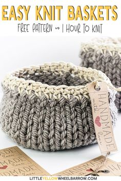 Handmade baskets, Farmhouse decor, Easy craft projects, Diy basket, Diy decor, Industrial decor - Free DIY Basket Pattern you can Knit up in a Flash -  #Handmadebaskets