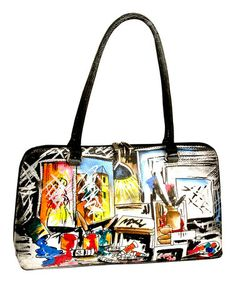 Look what I found on #zulily! Black  Blue Artist Hand-Painted Satchel by Biacci #zulilyfinds