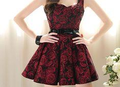 tbdressfashion:  Lovely Red Rose Sleeveless Dress - Give me Love like Never Before | via Tumblr