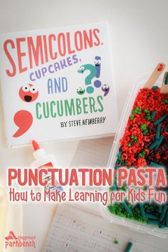 Make learning grammar and punctuation for kids fun with this book-inspired hands-on learning activity and writing prompt - Punctuation Pasta. Perfect for introducing early readers to punctuation and reinforcing punctuation with early elementary kids too. via @playgroundpb #kidsactivities #childrensbooks #innovationpress