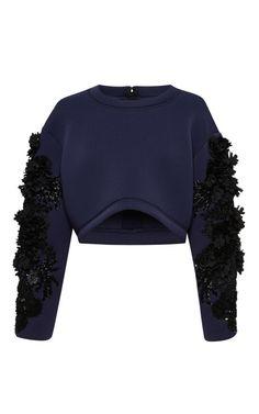 Shop Embroidered Neoprene Crop Top by Aquilano.Rimondi for Preorder on Moda Operandi