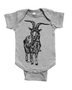 Funny Baby One Piece - Baby Shower Gift Idea - Unique New Mom Gift - Baby Girls or Boys Layette - Goat - Grey Baby Clothes - Animal Print Baby Girl Gifts, Baby Boy, Unique Baby Shower Gifts, Baby Goats, Gifts For New Moms, Funny Babies, One Piece, Animal, Trending Outfits