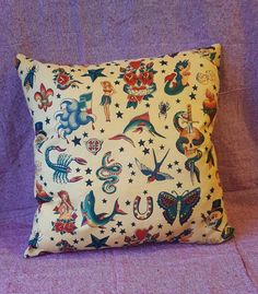 Old School Tattoo Flash Cushion by TheWhimsicalMammoth on Etsy