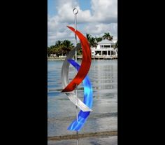 Firecracker Massive - Large Abstract Red/Silver/Blue Metal Freestanding Sculpture by Jon Allen