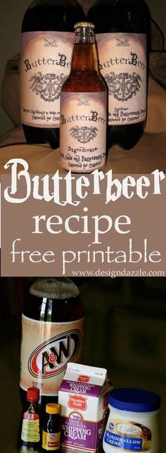 Recipe for delicious Butterbeer that the kids will love. Free Butterbeer printable. Harry Potter Activities Wizard for a day birthday party.