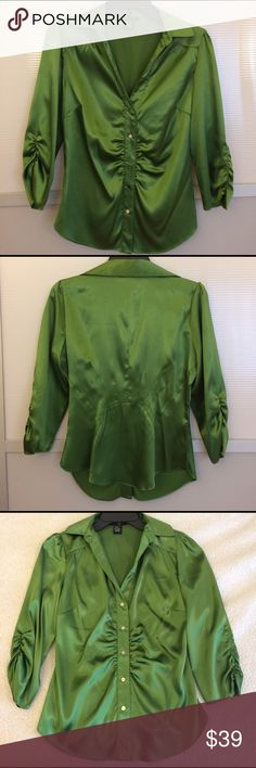 BCBG Max Azria Ruched Green Collared Button Down Gorgeous silky collared top from BCBG Max Azria. Deep V, ruching on sleeves and front buttons. Bust is about 19 inches across front, length is about 23 in from shoulder seam. EUC, no significant signs of wear. BCBGMaxAzria Tops Button Down Shirts