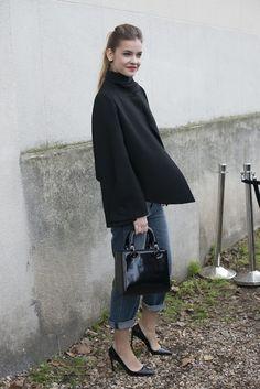 Barbara Palvin knows her way around a pair of boyfriend jeans and heels.