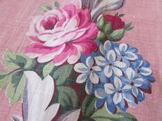 "Charming Vintage 40s Barkcloth Era ROSES Romantic Cottage Curtains 44""long  Vintageblessings"