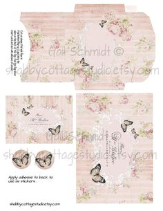 Stripes Roses Butterflies Digital Download by shabbycottagestudio, $2.00