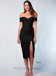 Gia Off Shoulder Midi. A beautiful midi by Samantha Rose. An off shoulder style featuring crossover detailing on the bust and a side split in the skirt. graduation outfit guest Gia Off Shoulder Midi Xmas Party Dresses, White Homecoming Dresses, Black Bridesmaid Dresses, Grad Dresses, Off Shoulder Cocktail Dress, Off Shoulder Gown, Off Shoulder Fashion, Elegant Midi Dresses, Formal Dresses