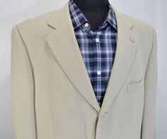 MINT COCONUT GROVE mens 100% SILK cream sport coat blazer jacket 44L 44 long L #coconutgrove #ThreeButton