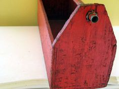 Wooden Tool Tote - Vintage - Primitive Box - Handmade Tool Carrier