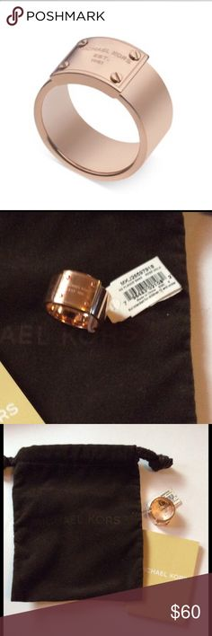 Michael Kors Rose-Gold Logo Plaque Ring Size 7 NWT Authentic Michael Kors Rose-Gold Logo Plaque Ring. Size 7 NWT & Pouch,.... No Trades No Holds Michael Kors Jewelry Rings